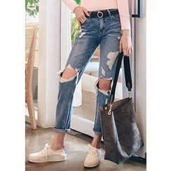 Chlo.D.Manon - Distressed Washed Slim-Fit Jeans