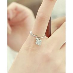 Miss21 Korea - Rhinestone Clover-Charm Open Ring