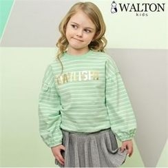 WALTON kids - Girls Set: Striped Lettering T-Shirt + Inset Mini Skirt Leggings