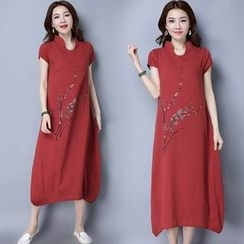 Diosa - 立領短袖連衣裙