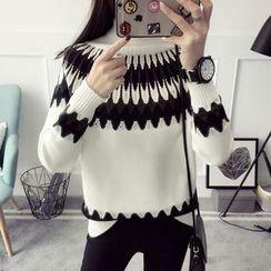 Qimi - 印花高領毛衣