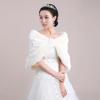 QS Bride - Flower-Accent Faux-Fur Trim Lace Bridal Shawl