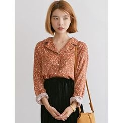 FROMBEGINNING - Notched-Collar Floral Blouse