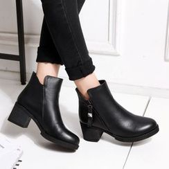 JY Shoes - Block Heel Genuine Leather Short Boots