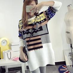 芙苪FR - 花纹长款毛衣