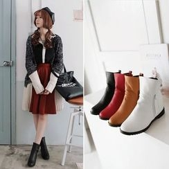 Shoes Galore - Faux Leather Hidden Wedge Ankle Boots