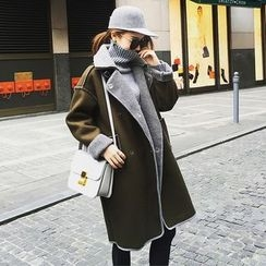 Ashlee - Notch Lapel Long Woolen Coat