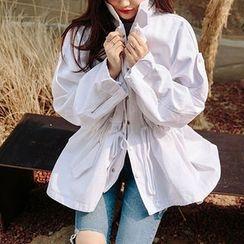 chuu - Drop-Shoulder Oversized Cotton Safari Jacket