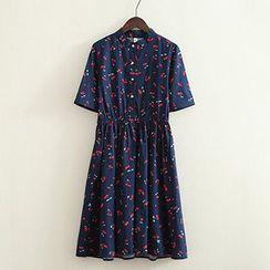 ninna nanna - Cherry Print Short-Sleeve Dress