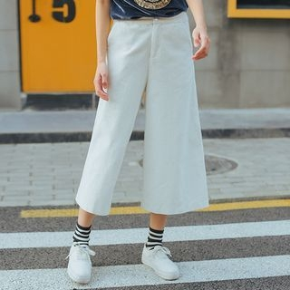 MIKPO - Plain Corduroy Wide Leg Pants