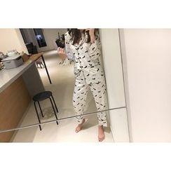 UPTOWNHOLIC - Pajama Set: Pattern Top + Band-Waist Pants