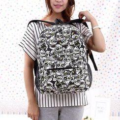 QeQ - Skull-Print Canvas Backpack