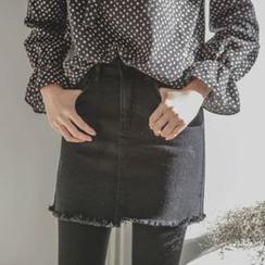 JUSTONE - Fray-Hem Brushed-Fleece Lined Denim Mini Skirt