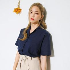 Envy Look - Short-Sleeve Linen Blend Blouse