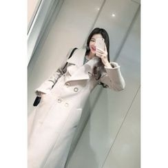 ATTYSTORY - Wide-Lapel A-Line Long Coat