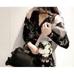 Marlangrouge - Lace-Layered A-Line Mini Dress