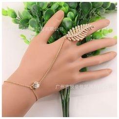 Trend Cool - Rhinestone Leaf Bracelet Ring