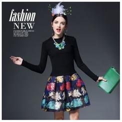 歐依潮派 - 長袖羊毛混紡拼接針織連衣裙
