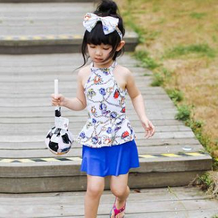 Goldlyre - Kids Set: Printed Swim Top + Plain Swim Skirt