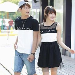 Igsoo - Couple Panel T-Shirt / Sleeveless Dress