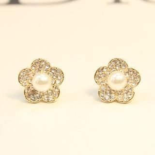 Supermary - Faux-Pearl Rhinestone Flower Stud Earrings