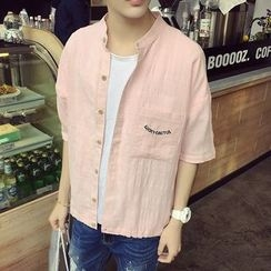 JUN.LEE - Elbow-Sleeve Linen Shirt