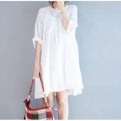 Clover Dream - Elbow-Sleeve Embroidered Dress