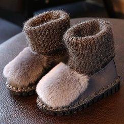 绿豆蛙童鞋 - 童装针织拼接短款雪靴