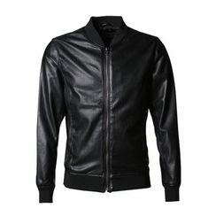 Mannmix - Faux Leather Bomber Jacket
