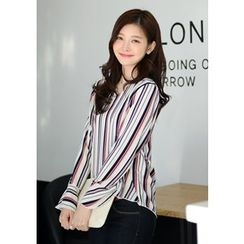DEEPNY - V-Neck Bell-Sleeve Striped Blouse