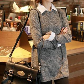 CLICK - Inset Shirt Knit Top