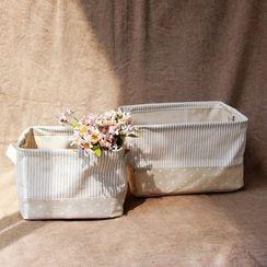 Gukan - Set of 3: Striped Linen Cotton Storage Basket
