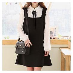 Sechuna - Frill-Trim Mini Jumper Dress
