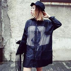 Urban Luxe - Sheer Check Panel Long Blouse