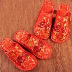 With Love - Couple Matching Embroidered Slippers