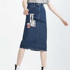Neeya - Letter Denim Skirt