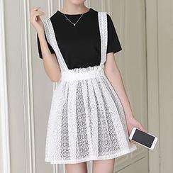 Glen Glam - Set: Short-Sleeve T-shirt + Mesh Panel Lace Jumper Skirt