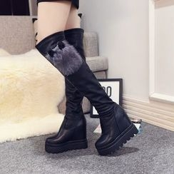 Yoflap - Hidden Wedge Fluffy Over-the-knee Boots