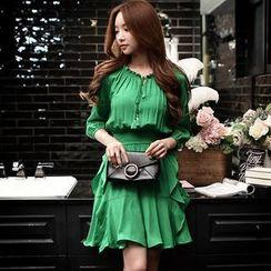 Dabuwawa - 3/4-Sleeve Drawstring Ruffle Dress