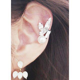 kitsch island - Faux Pearl Rhinestone Ear Cuff