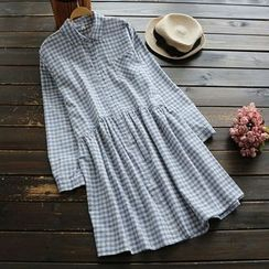 YOYO - Long-Sleeve Gingham Dress