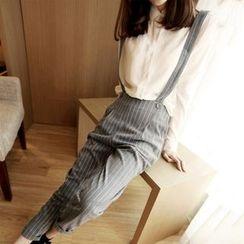 AININI - Pinstripe Suspender Pants