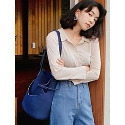 FROMBEGINNING - Faux-Suede Bucket Bag with Pouch