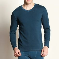 Hodohome - Set: V-Neck Long-Sleeve T-Shirt + Leggings