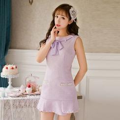 糖果雨 - 无袖塑身针织连衣裙