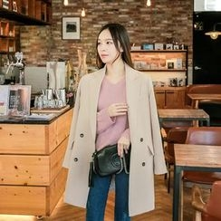 Seoul Fashion - Double-Breasted Long Blazer