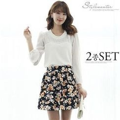 Stylementor - Set: Beaded-Front Long-Sleeve Top + Floral Patterned A-Line Skirt