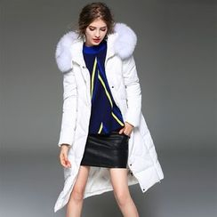 Y:Q - Furry Trim Hooded Down Coat