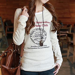 CLICK - Long-Sleeved Print T-Shirt