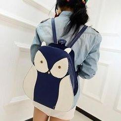Miss Sweety - Owl-Accent Faux-Leather Backpack